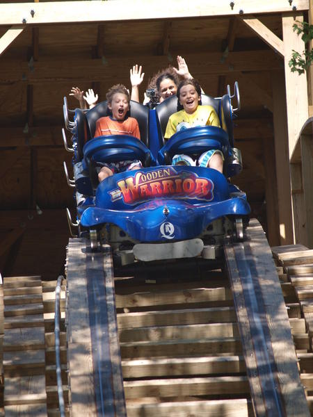 "The new attraction at Quassy Amusement Park in Middlebury is the ""Wooden Warrior"" roller coaster. The ride features the first state-of-the-art Timberliner train to operate on a roller coaster in the United States."