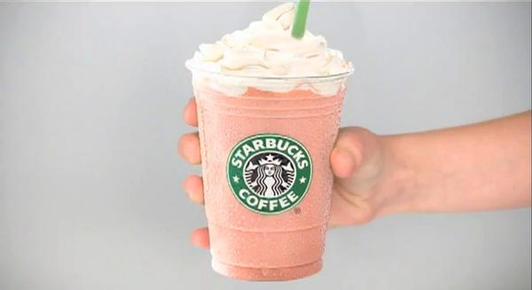 A strawberries and cream drink from Starbucks, which will by June will be among the drinks that no longer uses dye from cochineal insects.