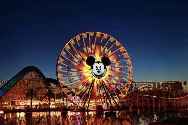 Mickey's Fun Wheel and the California Screamin' roller coaster at Disney California Adventure Park, which will be the first of six Disney parks to host a Starbucks cafe.