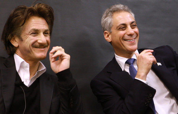 Actor Sean Penn and Mayor Rahm Emanuel share a light moment as they listen to President Mikhail Gorbachev at Frederick Von Steuben Metropolitan Science Center As the World Summit of Nobel Peace Laureates gets under way in Chicago.