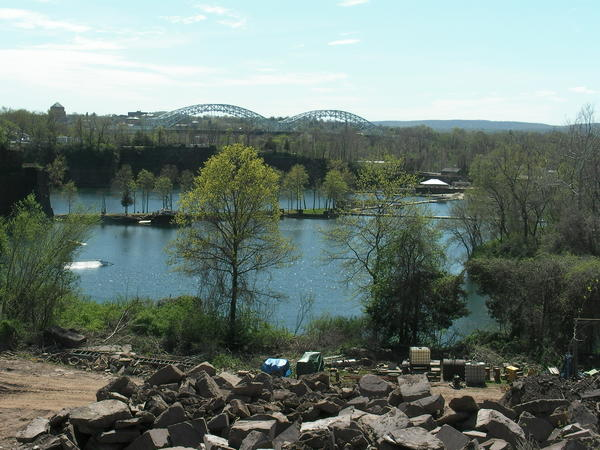 A view of the Brownstone Quarries in Portland. One is still operating and the other is a water-filled park.