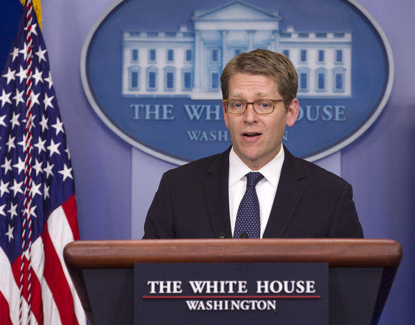White House Press Secretary Jay Carney gives his daily news briefing.
