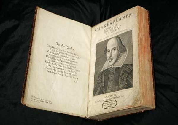 A 17th century copy of the First Folio edition of William Shakespeare's plays.
