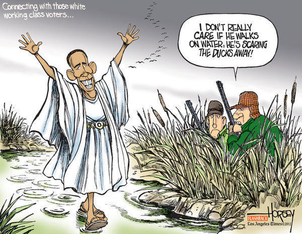Barack Obama is no rock star among gun owners, Ted Nugent fans and many white male voters, as illustrated in this Horsey cartoon from 2008.