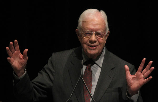 Former President  Jimmy Carter speaks at the 12th World Summit of Nobel Peace Laureates in Chicago.