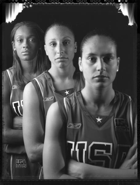 Prior to playing in the 2008 Olympics, former UConn stars, Swin Cash, left, Diana Taurasi, center, and Sue Bird posed for this portrait for The Courant.
