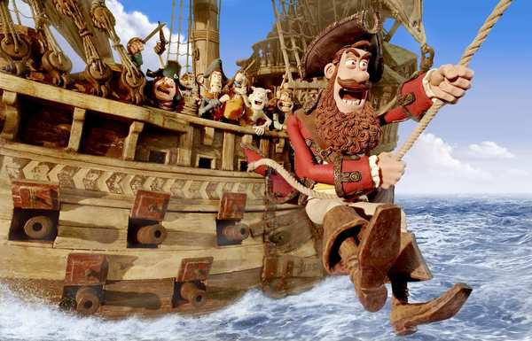 This film was directed by Aardman's Peter Lord and Jeff Newitt and is based on a series of buccaneering books by Gideon Dafoe. The sets included a handcrafted 770-pound wooden pirate ship.