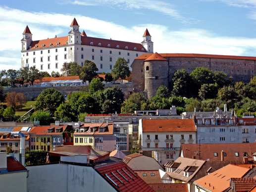 Bratislava Castle, a several-times restored structure with origins dating to the 15th century, is now a museum and national landmark.