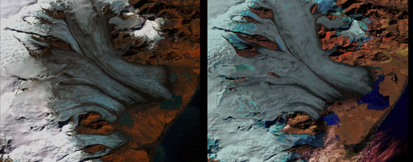 Glacier melt on Iceland, from 1973 to 2000.