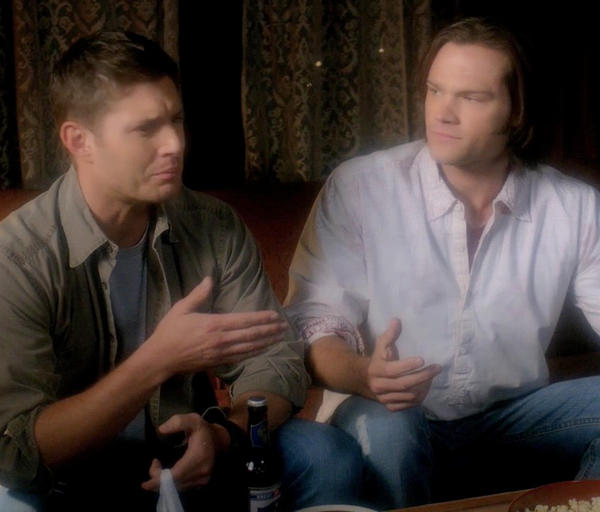 'Supernatural': Notable Quotables: Dean: All right, scoot, jerkface. Show your elders some respect.  Sam: You scoot, asshat.  Dean: Did we get licorice?  Sam: No, we did not get licorice. We got good snacks. Licorice is disgusting.  Dean: Im sorry, I didnt quite understand that, uh, Mr. Peanut Butter and Banana Sandwich.  Sam: I stand by that sandwich. Nobody likes licorice. Its--its made of dirt.  Dean: It is a classic movie food. Its right up there with popcorn.  Sam: Popcorn?  Dean: Yeah.  Sam: Youre out of your mind. Dean: What, its like little chewy pieces of heaven.