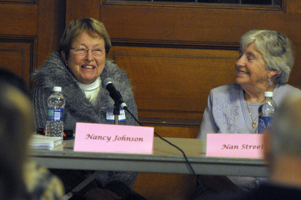 Former U.S. Rep. Nancy Johnson, left, speaks as former West Hartford Mayor Ann Streeter looks on.