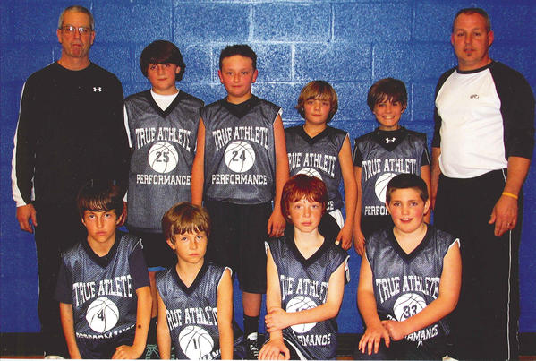 True Athlete Performance won the Boonsboro Area Basketball League Grades 5-6 championship, finishing the season 13-1. From left to right: Front row -- Tyler Pinkley, Taylor Pinkley, Paxton Alexander and Austin Sikes. Back row -- coach Mike Nolan, Ian Barbour, Ryan Nolan, Dalton Shank, Josh DeRocher and coach Scott Shank.