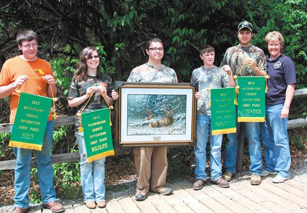 The first-place Trailblazers from Clear Spring High include, from left, Todd Welch, Crystal Welling, Kenny Carrier, Eric Yetter, Chance Younker and Coach Susan Lowery. Not pictured: Coach Terri Shank.