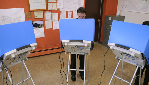 Rick Daugherty of Lowhill Twp. votes in the Lowhill Twp. municipal building early Tuesday.   Daugherty is running against Jackson Eaton in this primary to face Charlie Dent in the 15th Congressional race in the fall.