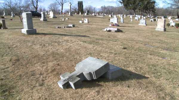 St. Catherines Cemetery Broad Brook was vandalized January 29, 2012