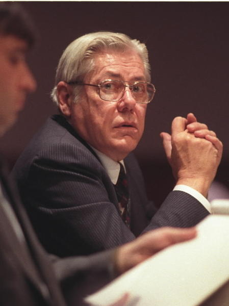 10/26/93 Dr George Reardon listens to testimony at the legislature office building on allegations that he sexually abused two people, a brother and sister, several years ago. Photo by Michael McAndrews/The Hartford Courant