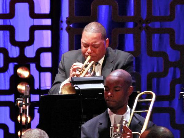 Trumpeter Wynton Marsalis performs the Paul Simon Songbook to Benefit Jazz at Lincoln Center gala concert & dinner at Frederick P. Rose Hall, Jazz at Lincoln Center last week in New York City.