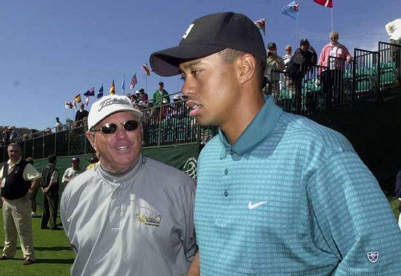 Butch Harmon with Tiger Woods in 2002. Harmon was Woods' coach from 1993 to 2004.