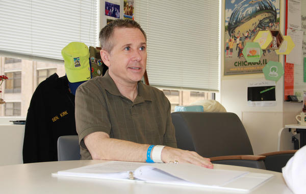 The first photo of Sen. Mark Kirk was released Tuesday, three months after the Illinois Republican suffered a stroke. Kirk's staff also offered a more comprehensive update on his progress.