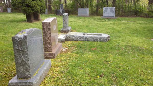 Vandals damaged St. Lawrence cemetery in West Haven on April 23, 2012