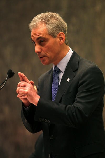 Chicago Mayor Rahm Emanuel speaks to the city council after they voted 41-7 to approve the Chicago Infrastructure Trust.