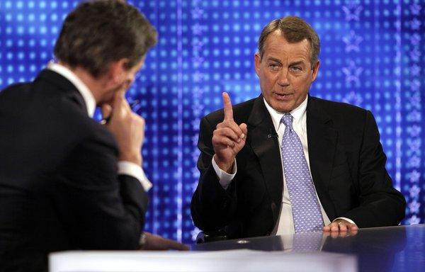 "House Speaker John A. Boehner (R-Ohio), right, is interviewed by Bill Hemmer on Fox News Channel's ""America's Newsroom."""