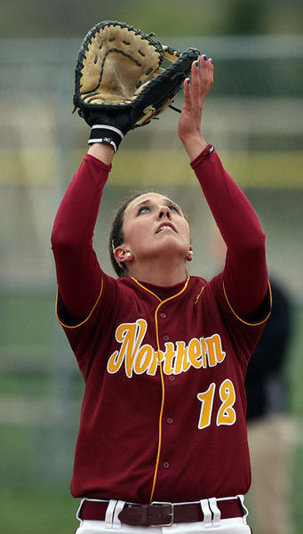 Northern State's Brittany Huback waits on an infield fly during a recent game against Minnesota-Duluth at the Moccasin Creek Softball Complex. American News Photo by John Davis
