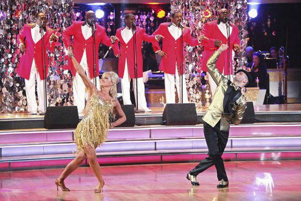 Katherine Jenkins and Mark Ballas performing to a song from The Temptations.
