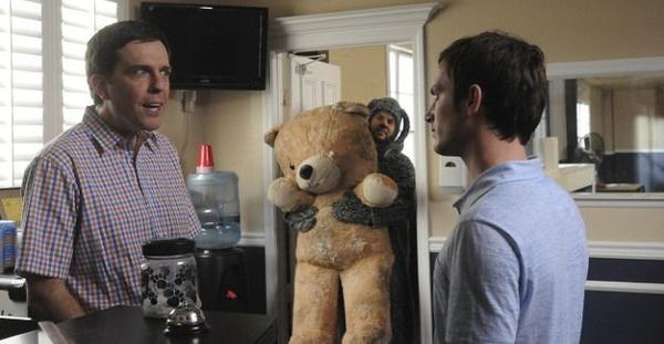 "Ed Helms guest stars on ""Wilfred."" That's the dog himself in the background with Bear."