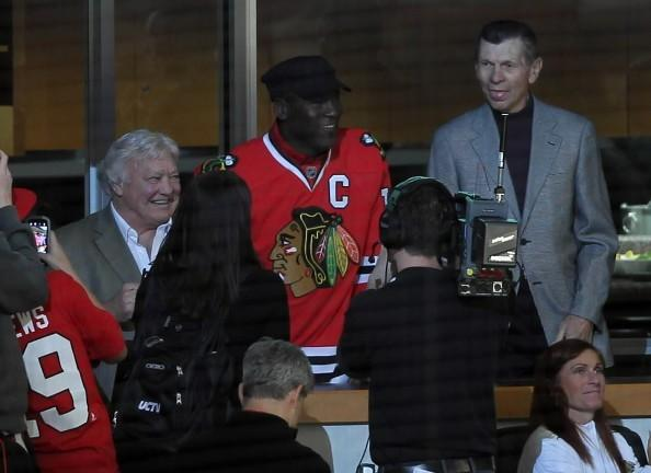 Blackhawks' legends Bobby Hull (left) and Stan Mikita (right) join Bulls' legend Michael Jordan in watching game 6 of the Hawks-Phoenix Coyotes playoff series at the United Center April 23, 2012.