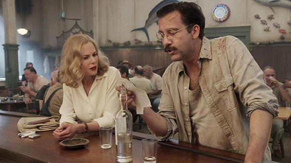 "Actors Clive Owen and Nicole Kidman, the stars of HBO's ""Hemingway & Gellhorn,"" in a scene showing Sloppy Joes, a bar Hemingway frequented in Key West, Fla."