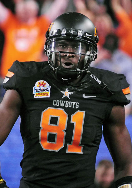 Pick: 5, Player: Justin Blackmon, Team: Jaguars, Position: WR, School: Oklahoma State,  Blackmon won the Biletnikoff Award as the nation's top college receiver the past two seasons. The only other multiple winner is former Texas receiver Michael Crabtree, now with the 49ers. Blackmon, the only receiver to be named Big 12 Offensive Player of the Year, holds the NCAA records for most consecutive games gaining 100-plus yards receiving, and most games gaining 200-plus yards receiving. -Sam Farmer, Tribune Newspapers