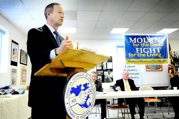 Among Md. Gov. Martin O'Malley's activities during a visit to Hagerstown Monday was his address to a Workers Memorial Day ceremony at the Central Maryland AFL-CIO Council office on East Franklin Street.