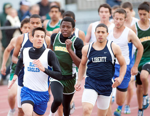 The start of the boys 800 during track and field competition against Emmaus and Liberty at Liberty's Frank Banko stadium on Tuesday afternoon.