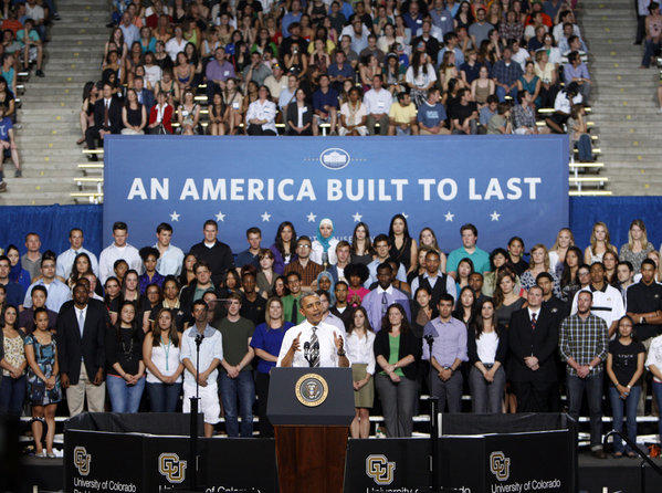 """We need to send a message to folks who don't seem to get this, that setting your sights lower -- that's not an education plan. You're on your own -- that's not an economic plan. We can't just cut our way to prosperity,"" President Obama said at the University of Colorado at Boulder."