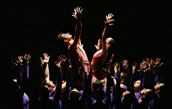 The conclusion of the second dance by Hamazkayin Ani Dance Company called Belfries are Sustained Forever at the Armenian Genocide Commemoration at the Alex Theatre in Glendale on Tuesday, April 24, 2012.