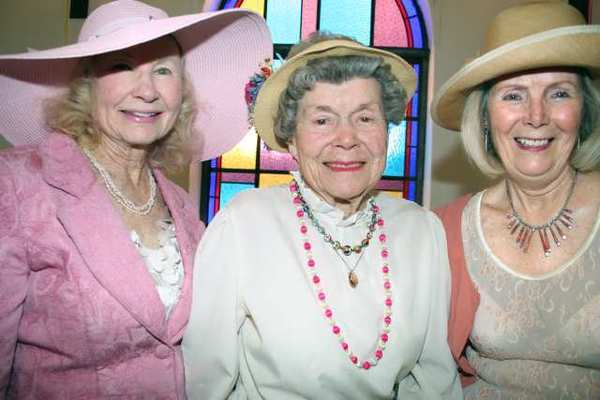 Looking queenly at the Assistance Leagues Queens Tea are guests, from left, Betty Cady, Doris McKently and Ramona Teichert.