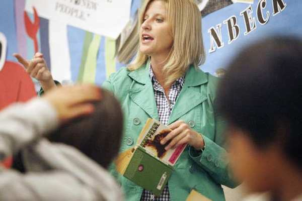 Rebecca Mieliwocki teaches her English class to seventh grade students at Luther Middle School in Burbank. Mieliwocki was lauded Tuesday as Teacher of the Year by President Obama.