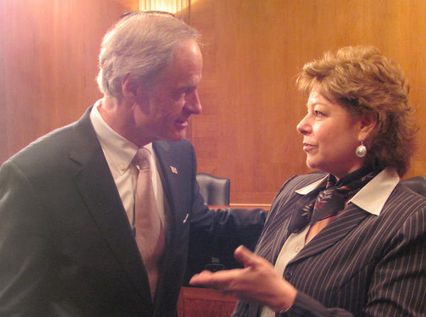 Brenda Archambo of Cheboygan, outreach consultant with the National Wildlife Federation and president of the Black Lake chapter of the preservation group Sturgeon For Tomorrow, talks with Senator Tom Carper, chair of the Subcommittee on Clean Air and Nuclear Safety. Archambo testified in front of the committee in support of the proposed U.S. Environmental Protection Agency's standards on mercury and air toxics emissions last week in Washington, D.C.