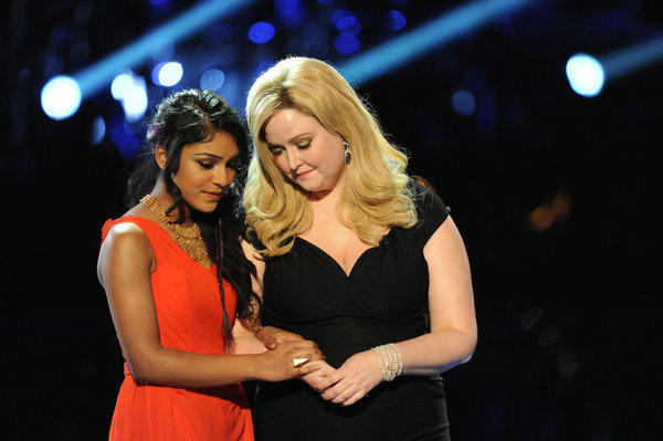 "Mathai (left) and Katrina Parker on last night's episode of ""The Voice."""