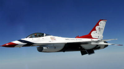 One of the Air Force Thunderbirds is scheduled to swoop down over Fort Lauderdale's beach at 3 p.m. today. The jet team headlines the air show this weekend.