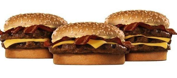 "Burger King bacon cheeseburger ""BK Stackers."" The fast food chain said it will use only cage-free eggs and pork by 2017."