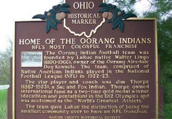A historical marker commemorating the Oorang Indians.
