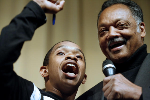 Rev. Jesse Jackson gives a speech to empower the students at Pasadena High School in Pasadena on April 25, 2012.