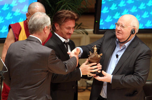 Actor, writer and humanitarian Sean Penn was presented with the 2012 Peace Summit Award by Mikhail Gorbachev, former president of the Soviet Union, on the final day of the 12th World Summit of Nobel Prize Laureates, on stage at the Symphony Center in Chicago.  Penn was honored for his humanitarian work in Haiti.