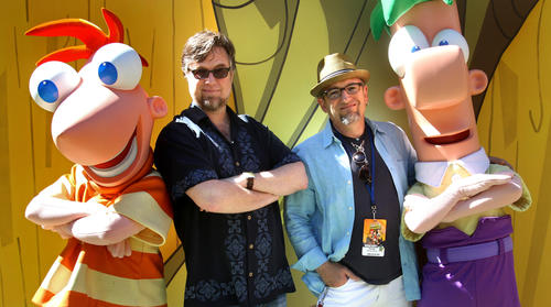 """Stars of the hit, animated Disney Channel television show """"Phineas and Ferb"""", greet young fans, along with Dan Povenmire and Jeff """"Swampy"""" Marsh, co-creators of the show, during a tour at Disney's Hollywood Studios."""
