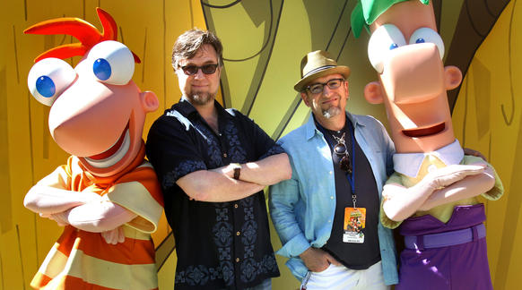 "Stars of the hit, animated Disney Channel television show ""Phineas and Ferb"", greet young fans, along with Dan Povenmire and Jeff ""Swampy"" Marsh, co-creators of the show, during a tour at Disney's Hollywood Studios."