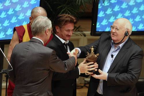 Actor, writer and humanitarian Sean Penn was presented with the 2012 Peace Summit Award by Nobel Peace Prize winner Mikhail Gorbachev, former president of the Soviet Union, on the final day of the 12th World Summit of Nobel Prize Laureates at the Symphony Center in Chicago. Penn was honored for his humanitarian work in Haiti.