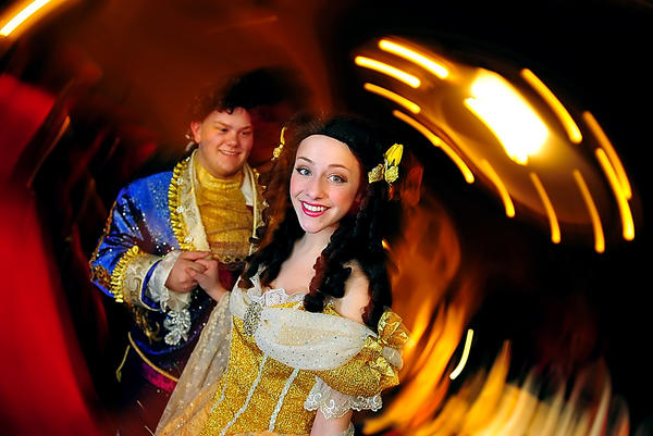 "Travis Thorpe and Julia Thompson star in Barbara Ingram School for the Arts' production of ""Beauty and the Beast,"" the musical based on the fairy tale about a girl condemned to stay with a monstrous creature."
