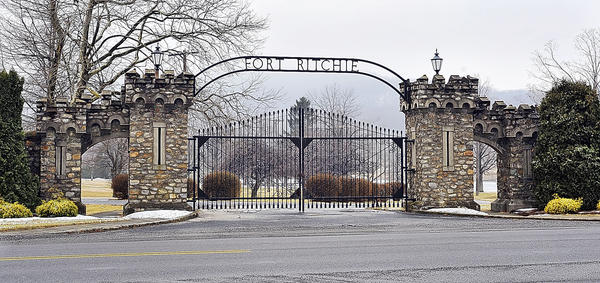 A gate at the former Fort Ritchie Army base near Cascade is seen in this Feb. 21, 2011 file photo.